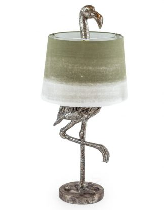 This stylish silver flamingo table lamp has a sage green grey drum shade and is magnificently finished and detailed. Measures 81 x 36 x 36cm . Great value.