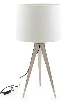 This gorgeous chrome arrow tripod table lamp is a really stylish way of lighting a room. Measures at H73 x W36 x D36cm, tapered chrome triangle legs.