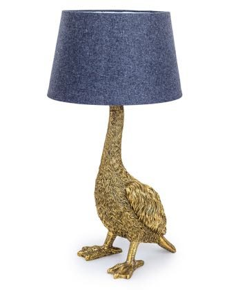 This gold goose table lamp is unique,quirky and stylish. H65 x W30.5 x D30.5cm and (requires 1 x E27 large Edison screw bulb) Gold painted highly textured.