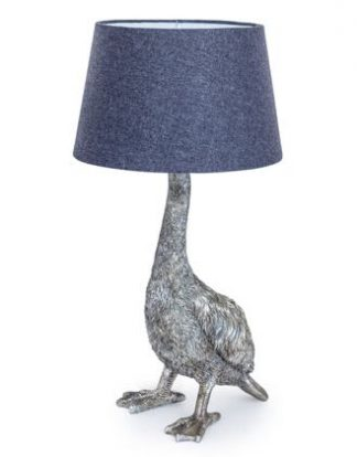 This silver goose table lamp is unique,quirky and stylish. H65 x W30.5 x D30.5cm and(requires 1 x E27 ) Silver painted highlytextured goose body and feet.