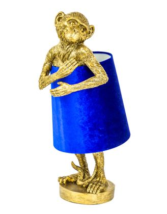 This super cute antique gold monkey table lamp with a royal velvet blue shade is bursting with awsomeness. Measures 55.5 x 23 x 23cm. Great fun and value!