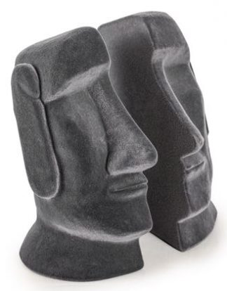 These Easter Island head bookends are perfect for any natural historian! Each half of a moai or head is covered with a grey flock material. 16 x 12 x 12cm