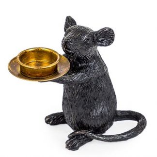This is our black mouse candle holder, his name is Milo Mouse, he loves holding your tea light. He is right handed. 15 x 16.5 x 8cm, Great gift, good value.