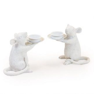 Meet our tame white mouse candle holders, Minnie and Maggie! They love holding your tea lights.Each a cute 15 x 16.5 x 8cm. Great gift.