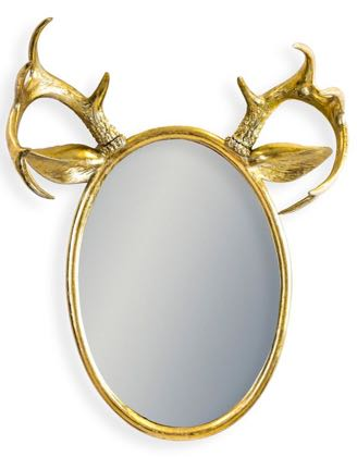 Our divine medium sized oval gold stag mirror is oozing style and individuality! 63 x 48 x 20cm. Gold painted metal. A pair of antlers and ears atop.