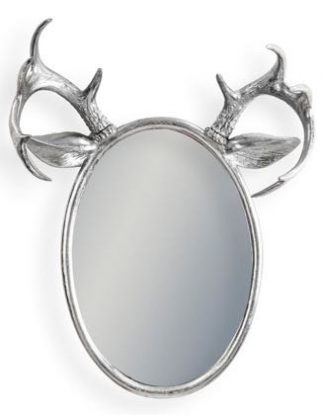Our divine medium sized oval silver stag mirror is oozing style and individuality! 63 x 48 x 20cm. Silver painted. Pair of antlers and ears atop. Stephan