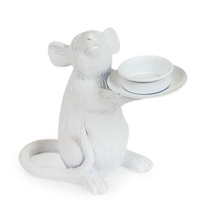 This is our left handed white mouse candle holder. She stands at a cute 15 x 16.5 x 8cm and carries a standard tealight easily. Super texture and matt white paint finish.