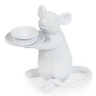 This is our cute white mouse candle holder who stands at a cute 15 x 16.5 x 8cm. Carries a standard tealight candle and is superbly textured and finished in a matt white paint.