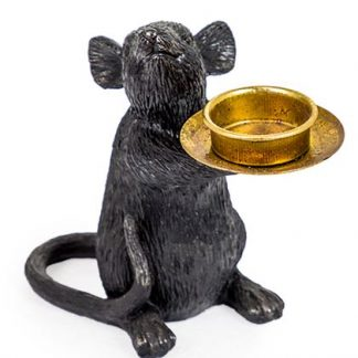 This sweetie pie Monty is our black mouse tea light ornament who stands at 15 x 16.5 x 8cm and is a beautifully detailed and textured mouse who is holding a gold plate that is ready for your tealight! A wonder fur gift for some one special, also has a right hand looking sister, Millie to make a pair!