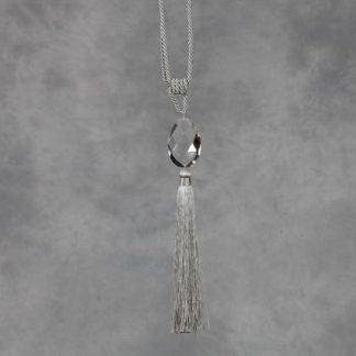 silver drop tassel cut glass teardrop with grey tassel curtain tieback