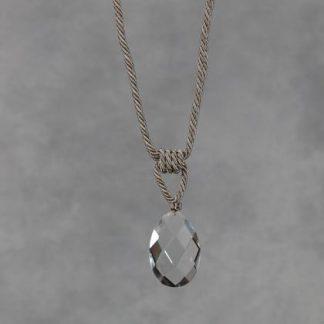taupe glass drop tieback cut glass drop no tassel