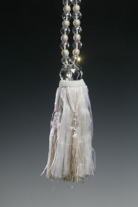 large ivory beaded rope tieback tassel for your curtains with clear glass beads