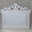 victorian crest mirror Venetian frameless style with border etched detail