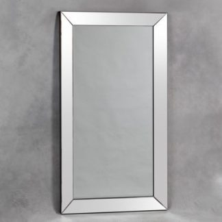Large rectangular mitre edged venetian wall mirror is a stunning, simple and stylish mirror. Large frameless edges. Perfect! 180 x 100 x 6cm