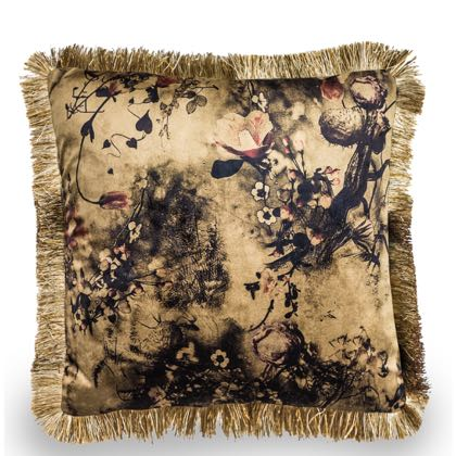 Sumptuous, rich, opulent, soft cream floral cushion. BoHo styled with fabulous fringed edge. 45 x 45cm. Will bring warmth and texture into your home.