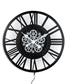 Our Black skeleton backlit clock with moving gears, is lit up by LED lights. H60 x W60 x D10cm. Nice size, great value, will look fab in the kitchen.