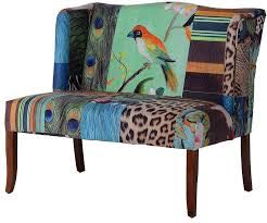 This wonderful patchwork maximalist abstract bird sofa seats 2 and has super smooth but soft upholstery. Measures 93 x 110 x 79cm. Great value too!