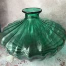 This Grand Illusions scallop green glass vase is a superb shape and a magnificent colour! Measures approx 28 x 28 x 25cm . Lovely deep green and super weight