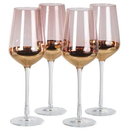Look at this set of 4 purple gold wine glasses. So elegant with a subtle purple glass at the top with a gold plating from halfway down. A great gift!